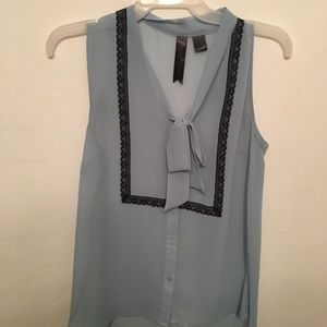 Powder blue sheer tank with black lace and necktie